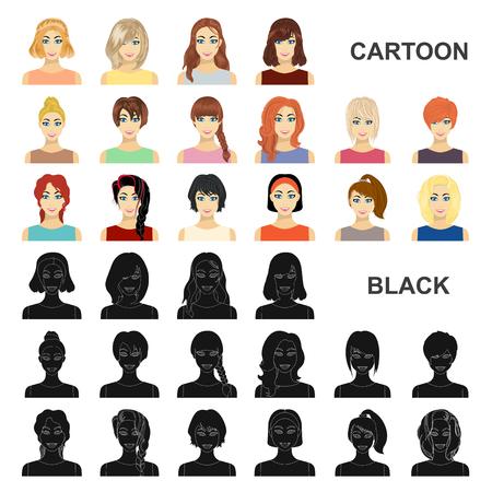Tipos de peinados femeninos, dibujos animados, iconos de colección set de diseño. Apariencia de una ilustración de mujer vector símbolo stock web.