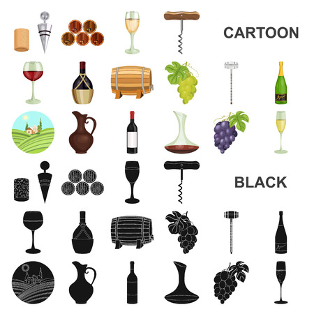Wine products cartoon icons in set collection for design. Equipment and production of wine vector symbol stock web illustration. Foto de archivo - 110334942