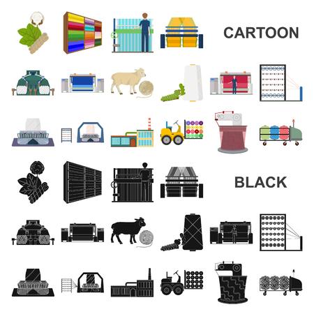 Icone del fumetto di industria tessile nella raccolta dell'insieme per progettazione Illustrazione di web delle azione di simbolo di vettore dell'attrezzatura e dei tessuti di tessuto.