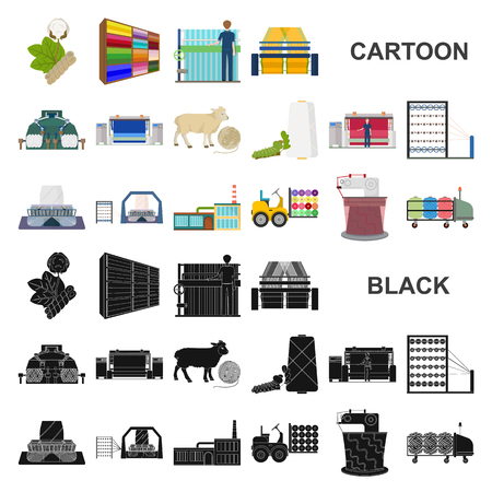 Textile industry cartoon icons in set collection for design.Textile equipment and fabrics vector symbol stock web illustration. Stock Illustratie