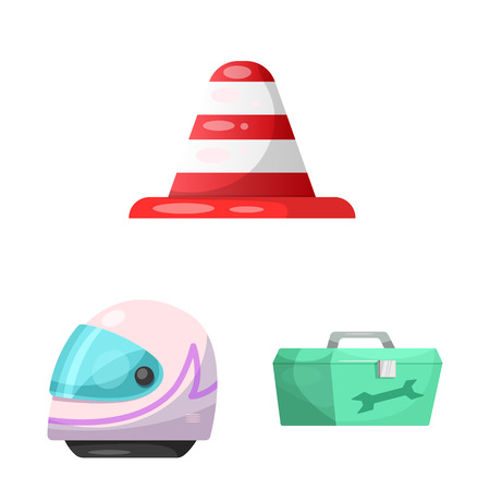 Isolated object of car and rally icon. Collection of car and race vector icon for stock. Çizim