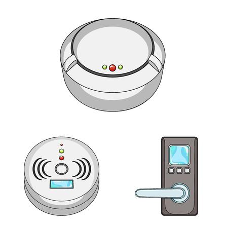 Illustration vectorielle du logo de vidéosurveillance et de caméra. Collection de vidéosurveillance et symbole boursier système pour le web.