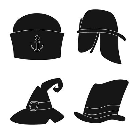 Vector design of headgear and cap logo. Set of headgear and headwear stock vector illustration.