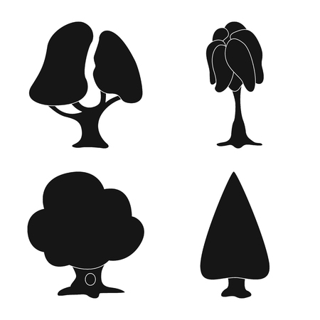 Isolated object of tree and nature sign. Set of tree and crown vector icon for stock. Illustration