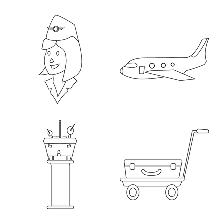 Isolated object of airport and airplane logo. Collection of airport and plane stock vector illustration.