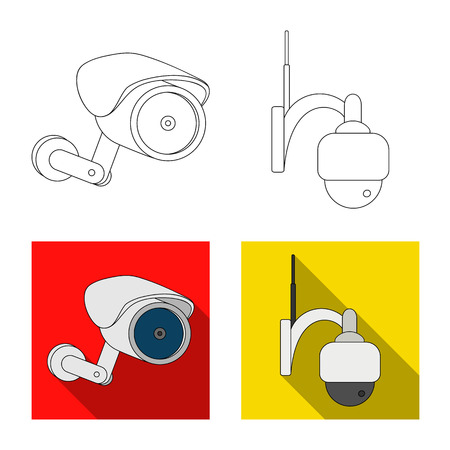 Isolated object of cctv and camera logo. Set of cctv and system stock vector illustration. Illustration