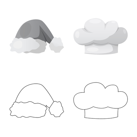 Vector illustration of headgear and cap icon. Set of headgear and headwear stock symbol for web.