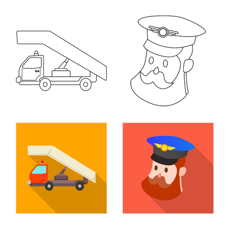 Vector design of airport and airplane symbol. Collection of airport and plane vector icon for stock.