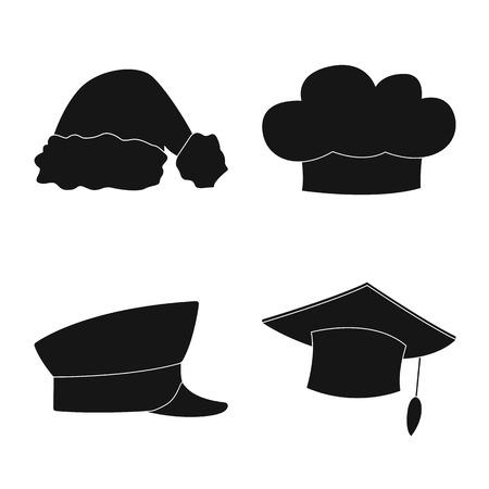 Vektor-Illustration von Kopfbedeckungen und Mützenzeichen. Satz von Kopfbedeckungen und Kopfbedeckungen auf Lager Vektor-Illustration.
