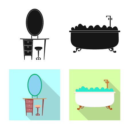 Vector illustration of furniture and apartment logo. Collection of furniture and home stock symbol for web. 向量圖像