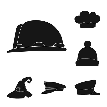Isolated object of headgear and cap logo. Collection of headgear and headwear vector icon for stock.