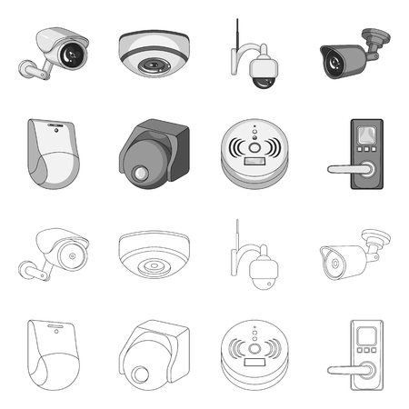 Vector design of cctv and camera logo. Collection of cctv and system stock symbol for web.