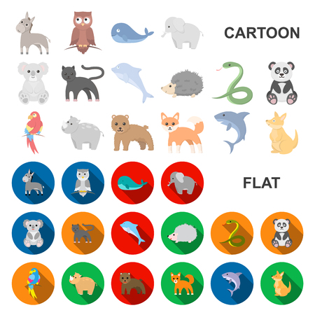 An unrealistic animal cartoon icons in set collection for design. Toy animals vector symbol stock illustration.