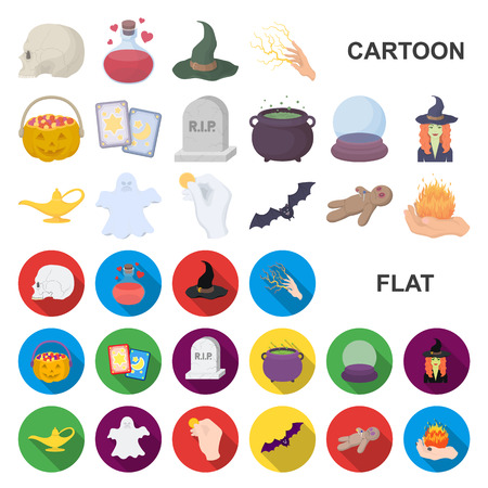 cartoon and white magic cartoon icons in set collection for design. Attributes and sorceress accessories vector symbol stock  illustration. Иллюстрация