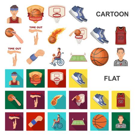 Iconos de dibujos animados de baloncesto y atributos en la colección de conjunto para el diseño. Jugador de baloncesto y equipo vector ilustración de símbolo de stock.