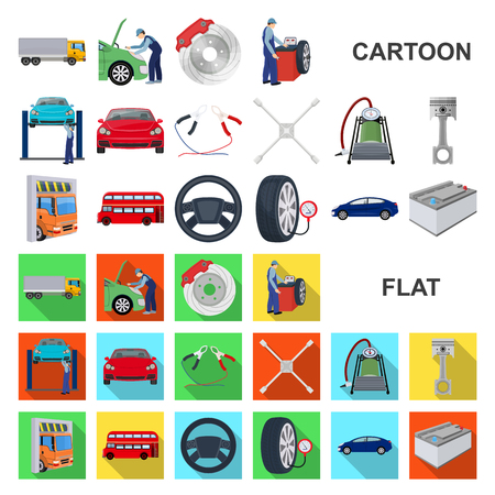Icônes de dessin animé de voiture, ascenseur, pompe et autres équipements dans la collection de jeux pour la conception. Illustration de stock de symbole de vecteur de station d'entretien de voiture.