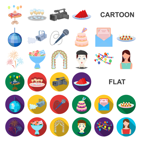 Event Organisation cartoon icons in set collection for design.Celebration and Attributes vector symbol stock web illustration.
