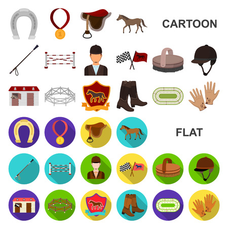Hippodrome and horse cartoon icons in set collection for design. Horse Racing and Equipment vector symbol stock web illustration. Illustration