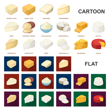 Different kind of cheese cartoon icons in set collection for design.Milk product cheese vector symbol stock web illustration.