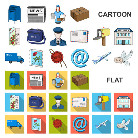 Mail and postman cartoon icons in set collection for design. Mail and equipment vector symbol stock web illustration.