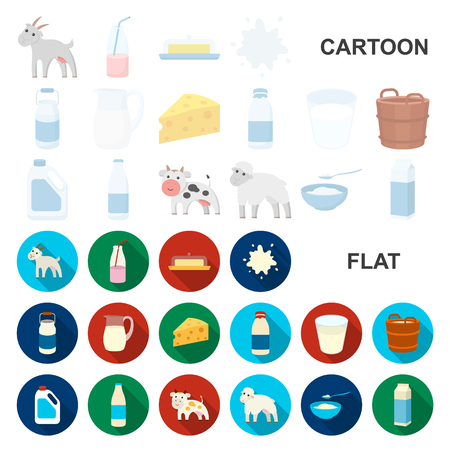 Milk product cartoon icons in set collection for design.Milk and food vector symbol stock web illustration. Vectores