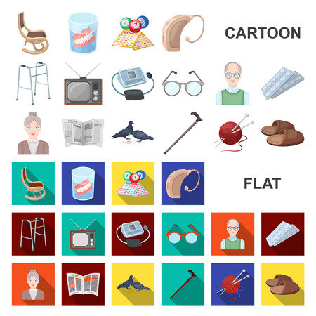 Human old age cartoon icons in set collection for design. Pensioner, period of life vector symbol stock web illustration. Illustration