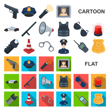 Police, Department cartoon icons in set collection for design.Detective and accessories vector symbol stock web illustration.