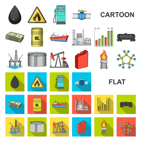 Oil industry cartoon icons in set collection for design. Equipment and oil production vector symbol stock web illustration. Иллюстрация