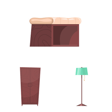 Vector design of furniture and apartment symbol. Collection of furniture and home vector icon for stock.  イラスト・ベクター素材