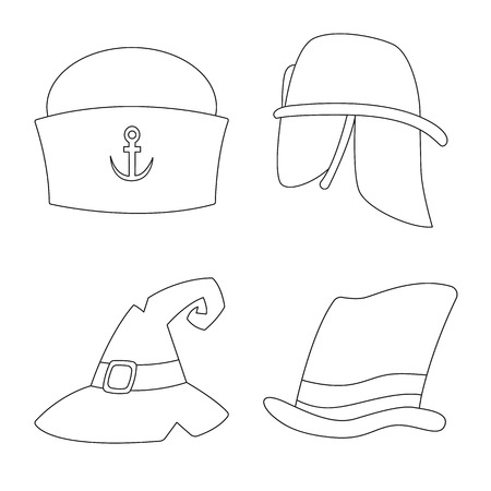 Isolated object of headgear and cap sign. Set of headgear and headwear vector icon for stock.