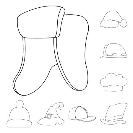 Vector illustration of headgear and cap logo. Collection of headgear and headwear stock symbol for web.