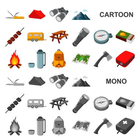 Ruhen Sie sich in den Camping-Cartoon-Symbolen in der Set-Kollektion für Design aus. Camping- und Ausrüstungsvektorsymbolvorratillustration.
