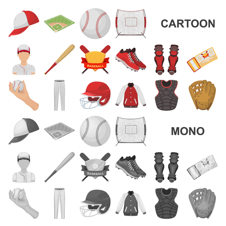 Baseball and attributes cartoon icons in set collection for design.Baseball player and equipment vector symbol stock illustration. Ilustração Vetorial