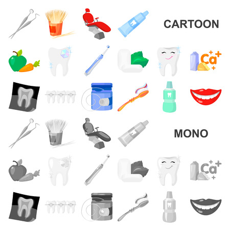 Dental care cartoon icons in set collection for design. Care of teeth vector symbol stock  illustration. Vettoriali