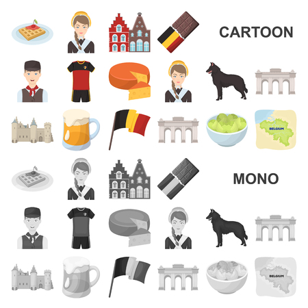 Country Belgium cartoon icons in set collection for design.Travel and attractions Belgium vector symbol stock web illustration. 일러스트