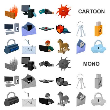 Hacker et piratage des icônes de dessin animé dans la collection de jeux pour la conception. Hacker et équipement vector illustration stock symbole Vecteurs