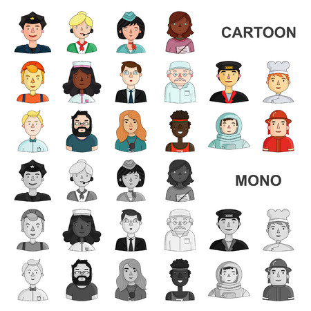 People of different professions cartoon icons in set collection for design. Worker and specialist vector symbol stock web illustration.