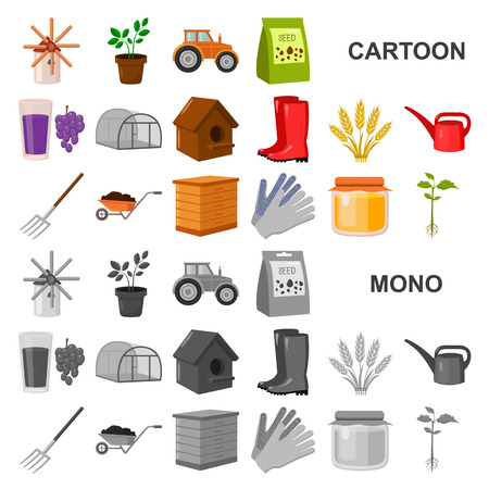 Farm and gardening cartoon icons in set collection for design. Farm and equipment vector symbol stock web illustration. Illustration