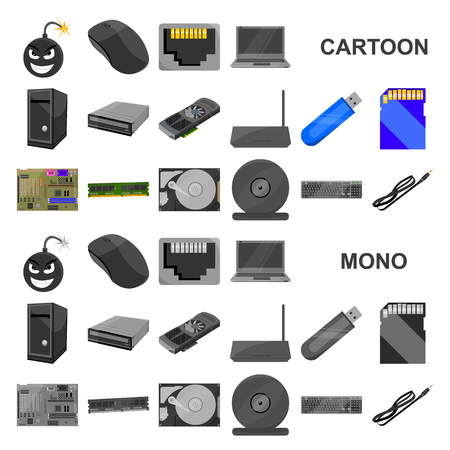 Personal computer cartoon icons in set collection for design. Equipment and accessories vector symbol stock web illustration. Иллюстрация