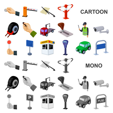 Parking for cars cartoon icons in set collection for design. Equipment and service vector symbol stock web illustration.