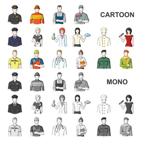 Karikaturikonen der Leute verschiedener Berufe in der Satzsammlung für Design. Arbeiter- und Fachvektorsymbolvorrat-Netzillustration.