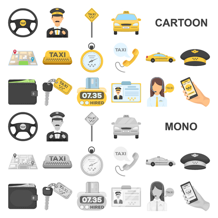 Taxi service cartoon icons in set collection for design. Taxi driver and transport vector symbol stock web illustration.