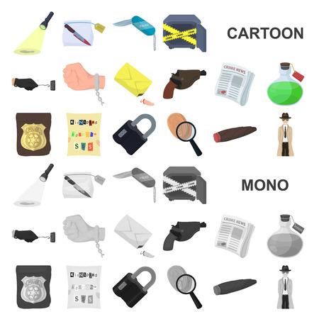 Agencia de detectives, dibujos animados, iconos de colección set de diseño. Ilustración de stock de símbolo de vector de crimen e investigación. Ilustración de vector