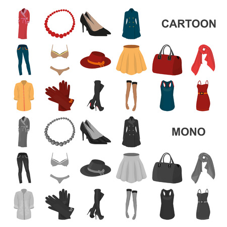 Women Clothing cartoon icons in set collection for design.Clothing Varieties and Accessories vector symbol stock web illustration.