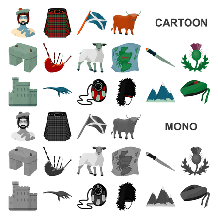 Country Scotland cartoon icons in set collection for design. Sightseeing, culture and tradition vector symbol stock web illustration. Illusztráció