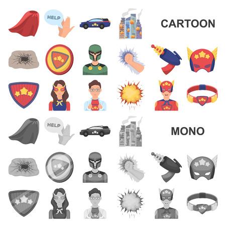 A fantastic superhero cartoon icons in set collection for design. Superhero equipment vector symbol stock web illustration.