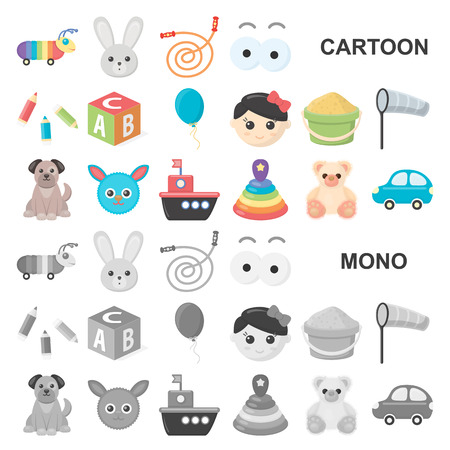 Children toy cartoon icons in set collection for design. Game and bauble vector symbol stock web illustration.