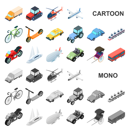 Tipi differenti di icone del fumetto di trasporto nella raccolta dell'insieme per progettazione. Illustrazione isometrica di web delle azione di simbolo di vettore della nave e dell'automobile. Vettoriali