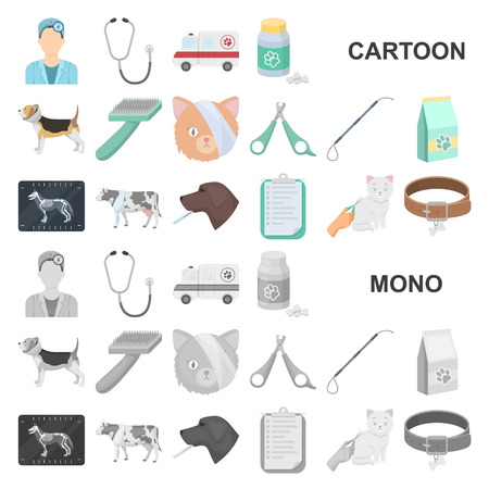Veterinary clinic cartoon icons in set collection for design. Treatment of a pet vector symbol stock web illustration. Vektorové ilustrace