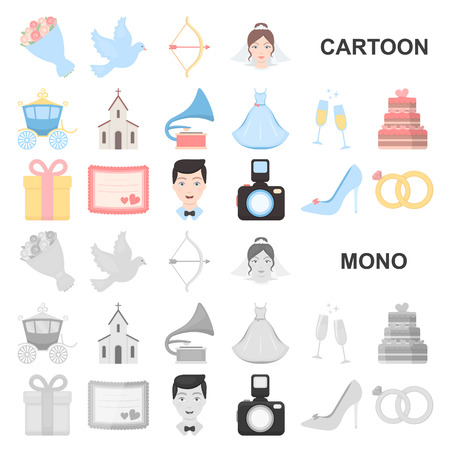 Wedding and Attributes cartoon icons in set collection for design.Newlyweds and Accessories vector symbol stock web illustration.